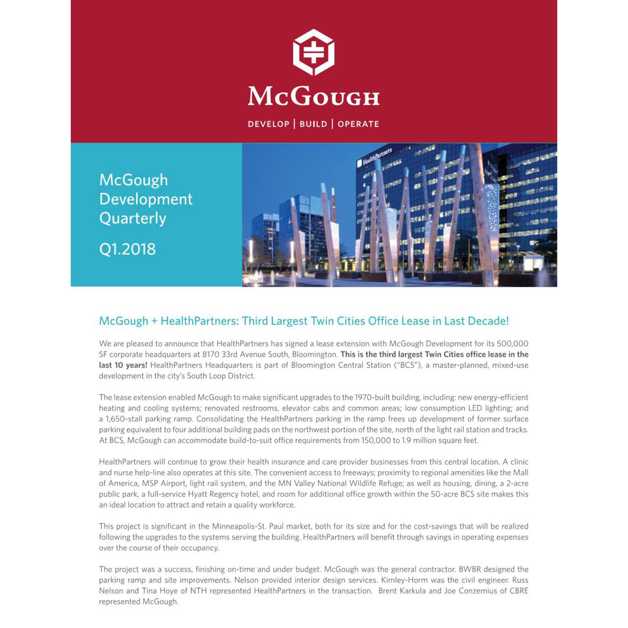 McGough Development Quarterly Newsletter Q1 2018