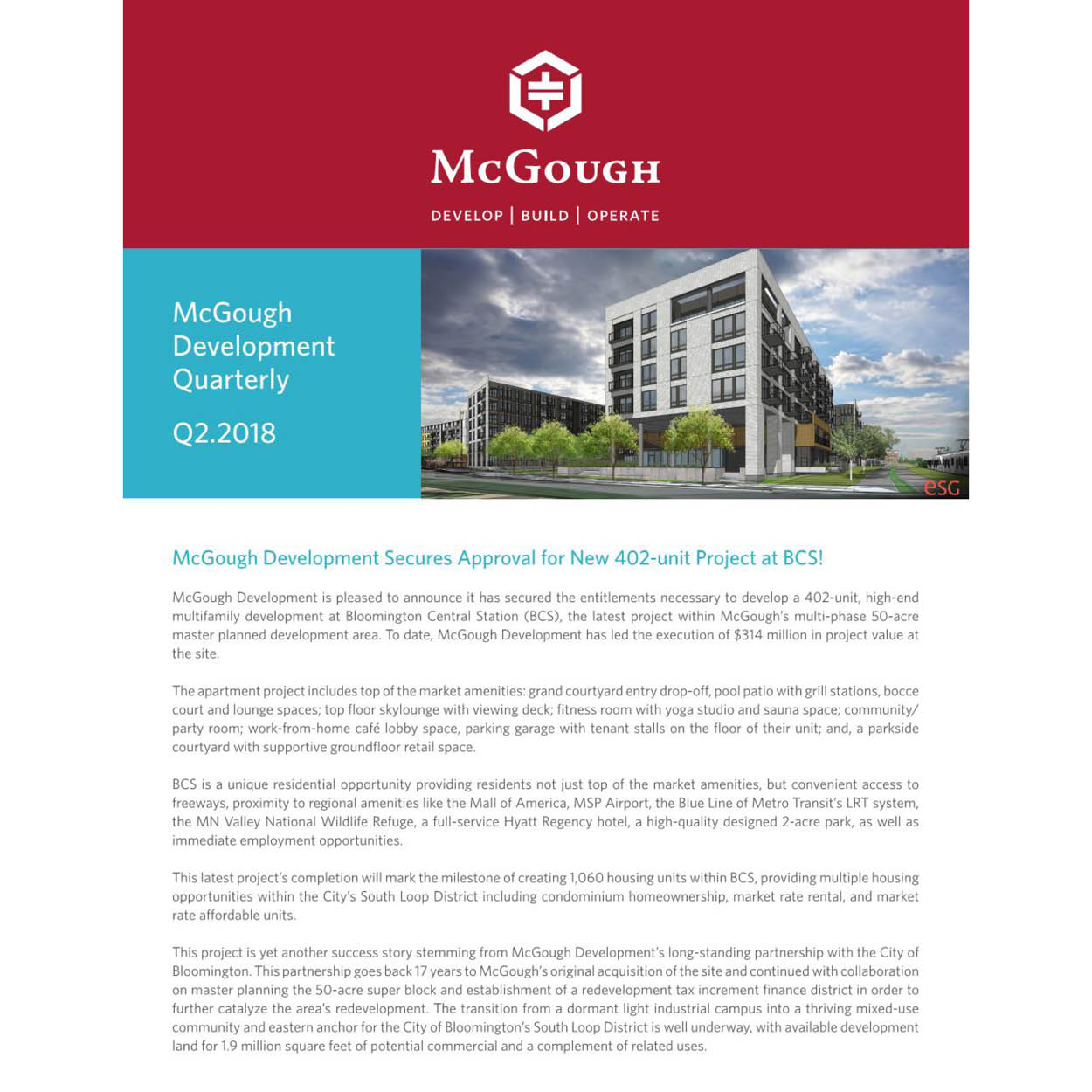 McGough Development Quarterly Newsletter Q2 2018