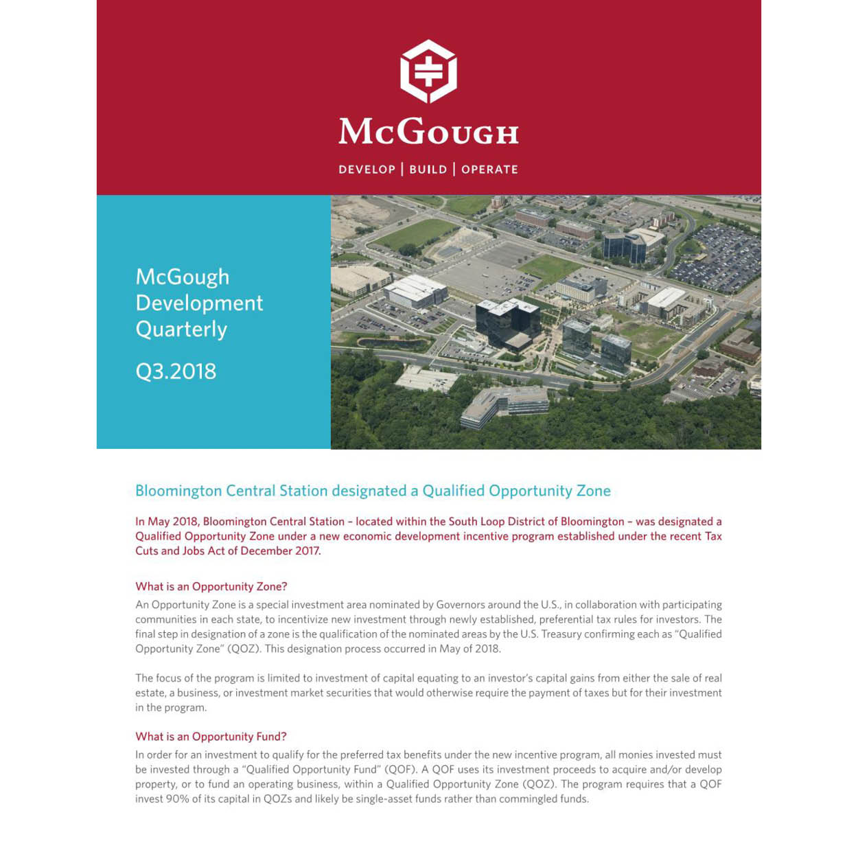 McGough Development Quarterly Newsletter Q3 2018
